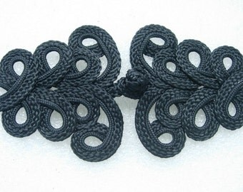 MR04-2 Chinese Corded Loopy Frog Closure Knot Button Jewelry Black DIY Craft Unique Design