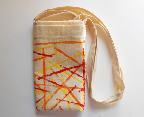 Hand-stamped Lines Tote Bag - Red Yellow Orange - Natural Cotton Stripes