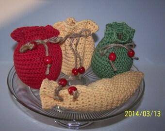 Handmade Crocheted Fruit Cozy, Pear, Peach, Apple and Banana Cozy