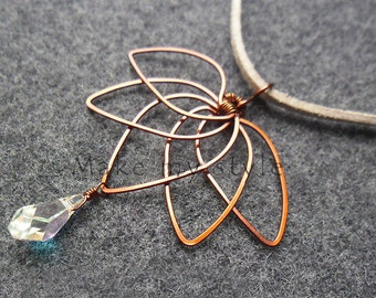 LOTUS BLOSSOM Copper pendant - copper wire necklace with Austrian crystal - copper jewelry - wire jewelry