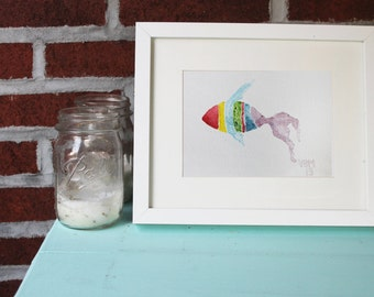 "Giclee Print, Watercolor, ""Rainbow Fish,"" 9 in. x 12 in."