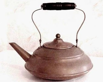 Arts and Crafts Era COPPER TEAPOT Made by Manning & Bowman with turned Wooden Handle