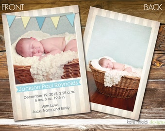 Boy or Girl Photo Birth Announcement - Baby Anouncement - Printable - Customized -  Bunting -  Stripes  - Double-Sided