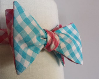 Pink and Blue Reversible Bow Tie