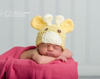 Crochet Newborn Giraffe Hat