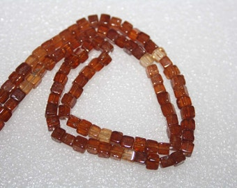 Natural AAA Quality Shaded Hessonite Garnet 3 to 4mm Smooth Square Box 14 inches long Strand SA527