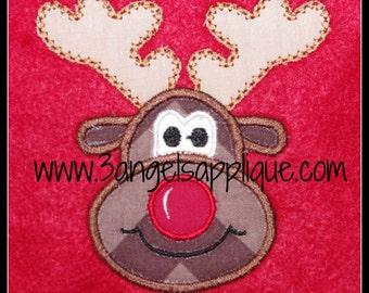 Reindeer  applique design 3 sizes INSTANT DOWNLOAD