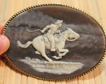 Genuine Incolay Cameo-Style Cowboy Belt Buckle