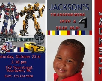Transformers Birthday Party Invitation and Bumblebee and Optimus Prime Digital