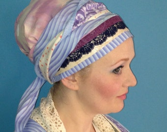 Gorgeous Pastel Headcovering with Navy Lace Accent