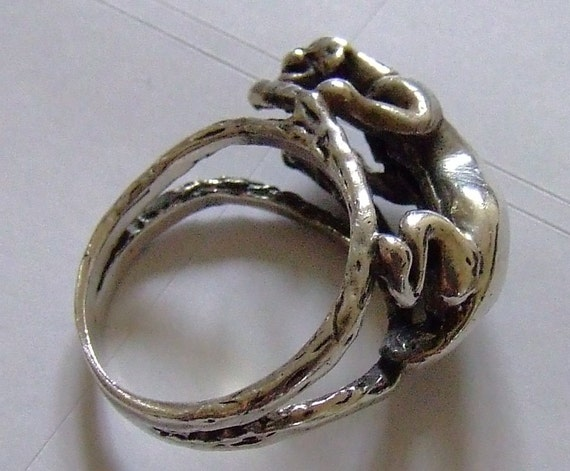 vintage sterling silver jaguar animal ring size 6 75 by