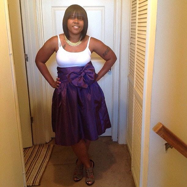 High Waist Classy Knee Length Full Skirt with Gift wrap bow