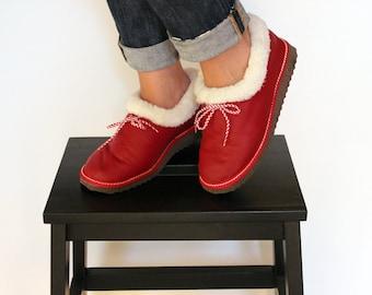 Womens Slippers, Shoe Slippers, Leather Slippers, Red Slippers, Slippers with Bows, Fur Slippers, Gift for Her, Shearling Slipper, Handmade