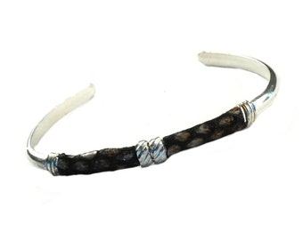 The Retro Bully - Mens - Womens - Cuff - Bracelet -  Bangle - Sterling Silver 925 Half Round Wire - Snake Leather and Sterling Touches