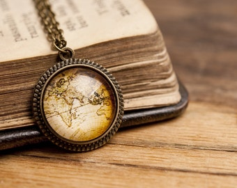 World map necklace etsy tiny vintage map necklace vintage map necklace world map necklace antique brass pendant gumiabroncs Image collections