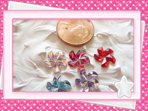 0: )- CABOCHON -( Flower Pinwheel Toy Rhinestone Gems Hot Pink, Pink, Red, Blue, Purple