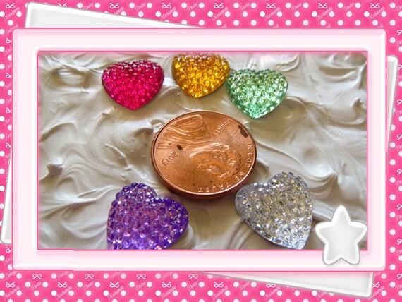 0: )- CABOCHON -( Rhinestone Gem Hearts pink, clear, gold, yellow, purple, aqua