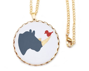 Rhino Necklace Rhinoceros Rhino Charm Rhino Jewelry Rhino Pendant Rhino Head Symbiosis Zoo Animals Animal Necklace Art and Fawn Cameo