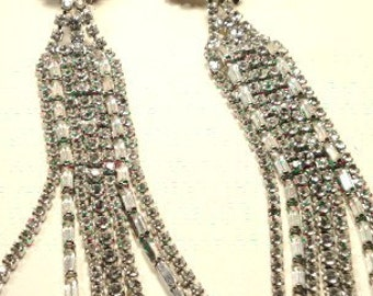 Stunning Unique Long Dangling Rhinestone Clip Earrings