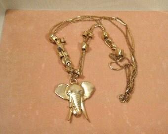 Vintage Goldtone Elephant Head with long goldtone chain