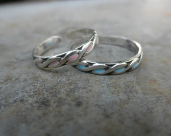 Sterling Infinity ring - Enamel  band ring - pattern ring - infinity design ring - color ring - adjustable ring - 925 solid sterling silver