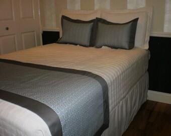Blue/Gray Hotel-Style Bed Scarf/Runner w/optional European shams (Size Full)