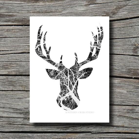 Modern Print Black And White Art Deer Head By FeatherAndIndigo