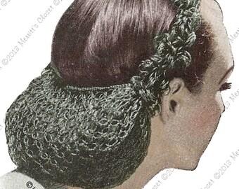 1940s Loop Snood, Vintage Crochet Pattern, INSTANT DOWNLOAD PDF