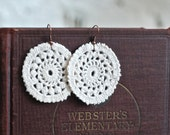 Earrings Lace Round Cream Crochet Circle Vintage