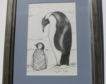 Penguins Pen and Ink Illustration