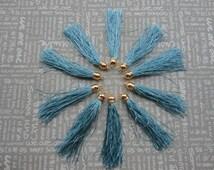 100pcs Light Blue Silk Tassel Fiber Tassel Fringe Tassel with Shinny Gold plastic Cap Charms--85x10mm--TF2