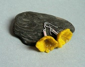 Yellow felt flowers earrings. Felt earrings. Sterling silver earrings. Handmade felt. Felted wool. Cute, romantic style, gift for her. - GlobeDesignsbyOlgaB