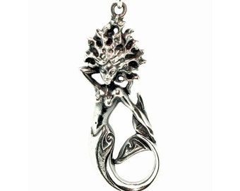 Mermaid necklace , sterling silver pendant.