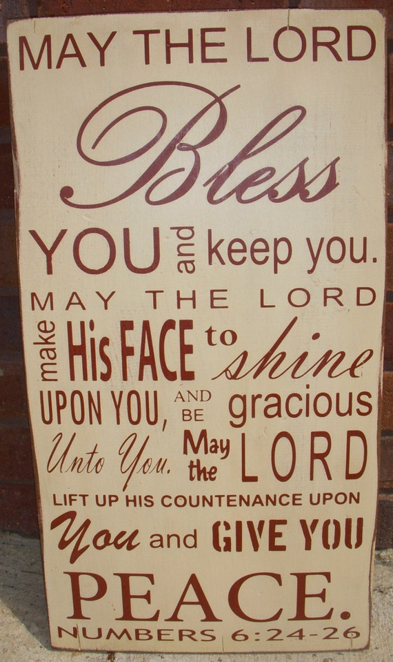 Bible Verse Numbers 6:24-26 Distressed wood sign great gift