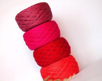 Red Linen Set - 4 Balls Natural Linen Yarn, High Quality, Linen Yarn For Crochet, Knitting