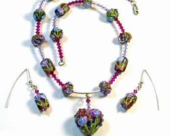 Set: Earrings and Necklace with Handmade Lampwork, Swarovski Crystals, and Sterling Silver