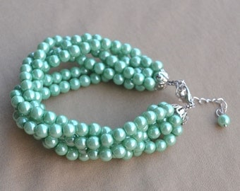 pearl Bracelet,Glass Pearl Bracelet,Turquoise Green Pearl Bracelet,Wedding Bracelet,6 strands bracelet,Jewelry