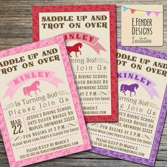 Items Similar To Modern Horse Themed Birthday Party Printable Invitation With Paisley Bandanna Border Available In Pink Purple Or Red On Etsy