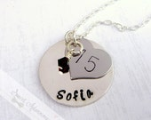 Quinceañera Necklace - Hand Stamped - Personalized Birthstone Jewelry