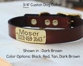 "Dog Collar leather 3/4"" width with custom ID"