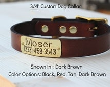 "Dog Collar leather 3/4"" width with custom ID"