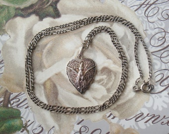 Antique Religious Medal Virgin Mary With Chain