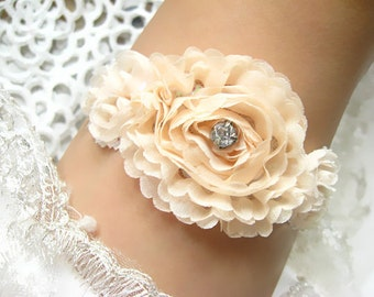 bridal garter, wedding garter, rosette bride garter, lace garter, rhinestone beaded floral garter