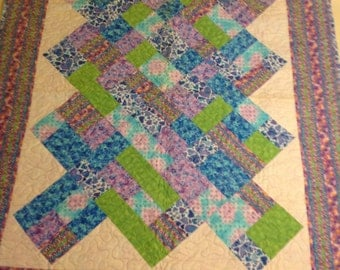 Purple Hearts Throw Quilt