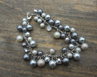 Pearl Baubles Bracelet in Blue, Gray, and Cream Hues