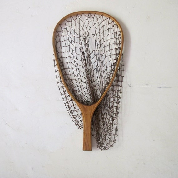 Antique wooden fishing landing net french vintage racket for Wooden fishing net