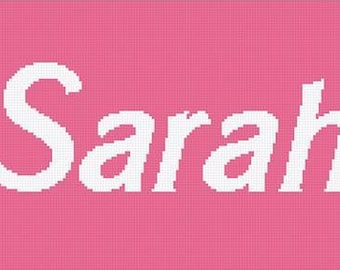 "graphghan - Tunisian crochet pattern - Name "" Sarah "" Afghan Chart Pattern - Personalized crochet blanket"