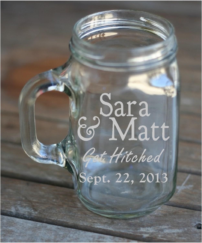 Mason Jar Wedding Favor Ideas: Etched Mason Jar With Handle Wedding Favor By TheYardBarnShop