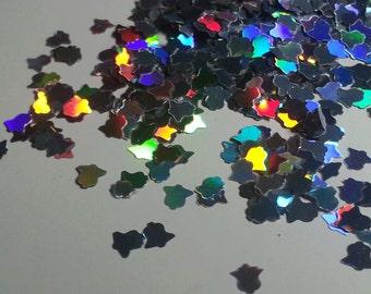 solvent-resistant glitter shapes-silver hologram bells