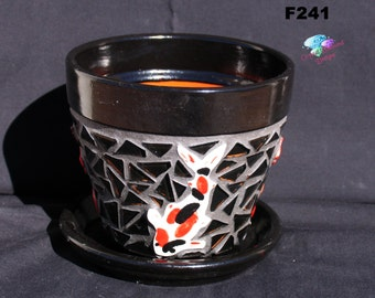 """6"""" KOI Mosaic Flower Pot - Handmade Tile and Glass Tiles Look great in your Home F241"""